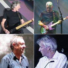 Boven: Roger Waters (l) & David Gilmour (r)Onder: Nick Mason (l) & Richard Wright (r)