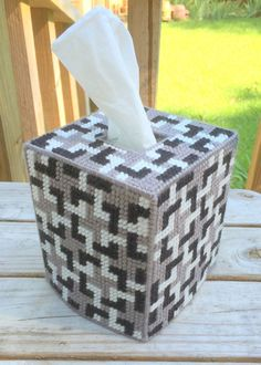 Tessalations Tissue Cover handmade Black White & Gray yarn & plastic canvas #Handmade