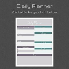 Daily Planner, To-Do List, Daily Schedule, Printable Planner, Household PDF Printable