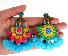 pom pom earrings, big earrings, colorful festival earrings, mexican earrings, fringe earrings, large tassel earrings, neon earrings Crochet pom pom earrings in good cotton, accessorized with glass beads, large handmade tassels(acrylic yarn),sand beads,metal parts(bronze,do not contain Long Tassel Earrings, Big Earrings, Unique Earrings, Fringe Earrings, Textile Jewelry, Fabric Jewelry, Hippie Crochet, Crochet Decoration, Crochet Accessories