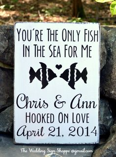 Beach Wedding Sign Personalized Beach Wedding Gift Outdoor Lake Rustic Fish Theme Only Fish In Sea Hooked On Love Wooden Sign Nautical Decor on Etsy, $35.00
