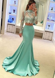Lace Evening Dresses Two Pieces Prom Dresses Long Prom Dresses Green Evening Dresses Prom Dresses Mermaid Prom Dresses Long Evening Dresses With Sleeves, Evening Gowns, Evening Party, Pretty Dresses, Sexy Dresses, Cheap Dresses, Dresses 2016, Gowns 2017, Bride Dresses