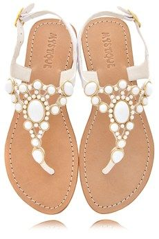 MYSTIQUE White Beads Thong Sandals - SHOES | SANDALS | PRET-A-BEAUTE.COM