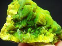 Wonderful Lamellar Yellow Green Autunite Crystal Cluster Mineral Specimen
