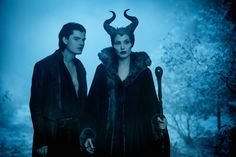 Diaval (Sam Riley) and Maleficent (Angelina Jolie) They were so funny! Made the movie!