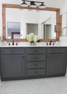 THIS is how to refinish yours for professional results How To Refinish Bathroom Cabinets & DIY & Domestic Blonde Source by. The post How To Refinish Bathroom Cabinets Bathroom Renos, Bathroom Flooring, Bathroom Renovations, Bathroom Furniture, Home Remodeling, Bathroom Ideas, Bathroom Makeovers, Easy Bathroom Updates, Bathroom Mirror Makeover