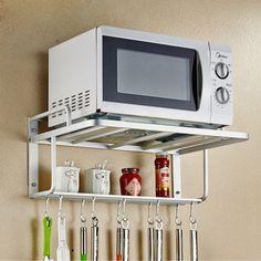 Estante de metal para horno microondas y cocina blanco Warmiehomy