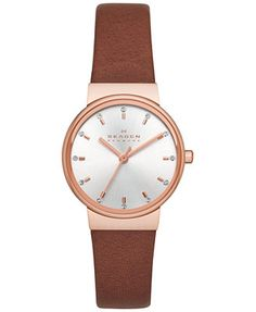 Skagen Women's Ancher Brown Leather Strap Watch 26mm SKW2260