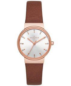 Skagen Women's Ancher Brown Leather Strap Watch 26mm SKW2260