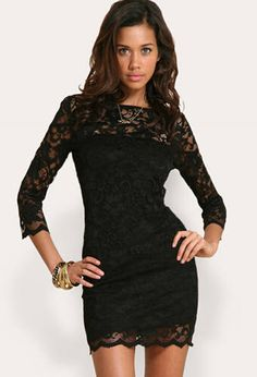 Shop Black Round Neck Slim Bodycon Lace Dress online. SheIn offers Black Round Neck Slim Bodycon Lace Dress & more to fit your fashionable needs.