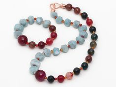 Incidence Angle Aquamarine And Faceted Candy Agate Set ( Necklace And Matched Bracelet )