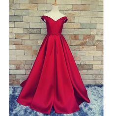 Off Shoulder Satin Prom Gowns Evening Dresses A Line pst0043
