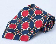 Paolo Gucci Horsebit Equestrian Tie Necktie Chain Link Buckles Made in Italy Vtg #PaoloGucci #NeckTie