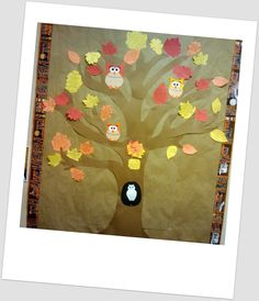 A Thankful Tree: full of owls & leaves full of quotes on being thankful.