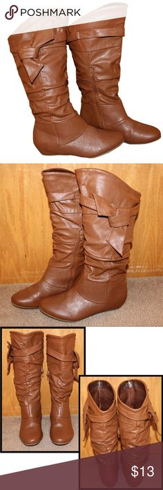 Charlotte Russe Tan Boots Love these boots!  * Color - tan  * Hit just below knee * Side tie that is fixed in place * Side zip * Flat heel   These boots are in excellent condition. They have no flaws. They are by Charlotte Russe and size 8.  Box is not included. Charlotte Russe Shoes Winter & Rain Boots