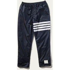 Buy Thom Browne Zip Up Pants (Seamed In 4 Bar Stripe In Rip Stop W/... ❤ liked on Polyvore featuring pants, stripe pants, striped pants, thom browne, thom browne trousers and zip up pants