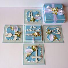kartkulec: I Komunia Święta Chocolates, Baby Mini Album, Diy And Crafts, Arts And Crafts, Creative Box, Envelope, Exploding Boxes, Baptism Gifts, Baby Cards