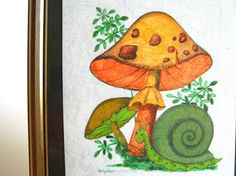 Mod Mushroom Art Funky Fungi and Snail Hand Painted Vintage Picture Orange Mushroom, Mushroom Art, Magic Art, Retro Color, Snails, Nature Inspired, Vintage Pictures, Fungi, Painting Inspiration