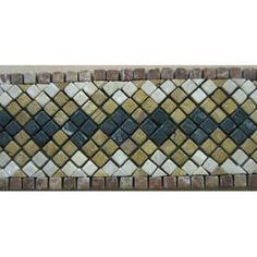 SUMELA Tumble Marble Mosaic Listello Border 4 in. x 15.75 in.#border molding