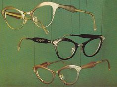 """Postcard, c. 1960 """"Carillion"""" style eye glasses """"Clearly a new note in high fashion"""""""