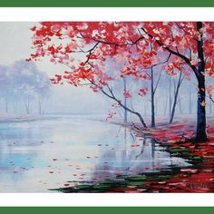 AUTUMN OIL PAINTING  Misty lake impressionist por GerckenGallery