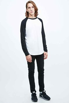 Shop Commodity Stock Raglan Tee in White and Black at Urban Outfitters today. Raglan Tee, Urban Outfitters, Cotton Fabric, Normcore, Tees, Long Sleeve, Fitness, Model, T Shirt