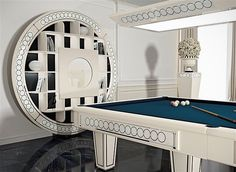 Billiard room with vismara design Russian pooltable and bookcase container bar for a luxury area #luxury #furnishings #neoclassic #billiardroom #pooltable