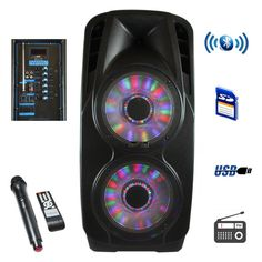 beFree Sound 2x12 Inch Woofer Portable Bluetooth Powered PA Speaker
