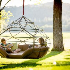 Kodama Zomes: Hanging Geodesic Seats & Beds - outdoor living