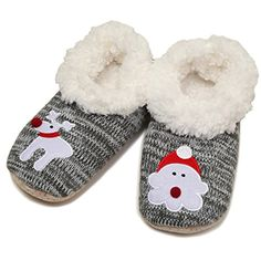Funky Junque's Santa Reindeer Fuzzy Lined Christmas Holiday Bootie Slippers -- Read more reviews of the product by visiting the link on the image. (This is an affiliate link) #Slippers