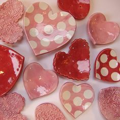 heart set of 5 ceramic dishes for your valentine ❤