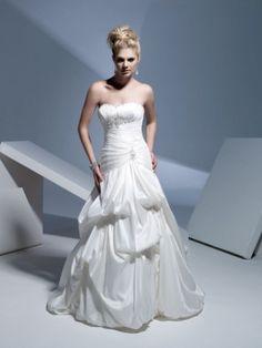Style A-line Strapless Ruffles  Sleeveless Sweep / Brush Train Taffeta White Wedding Dress For Brides