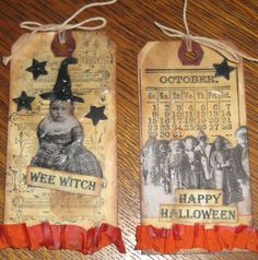 Primitive Halloween Altered Art Tags