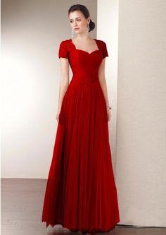 Chiffon Cap Sleeves Lace Applique Long Modest Women Discount ...