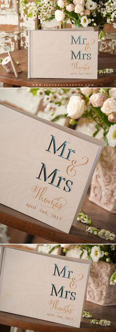 Wedding Wooden Guest Book Mr & Mrs Engraving #weddingideas #realwood #summerwedding