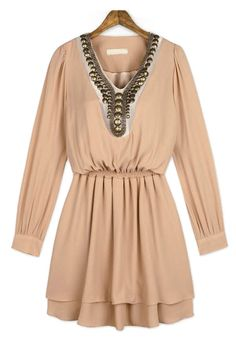 Khaki V Neck Long Sleeve Bead Pleated Dress