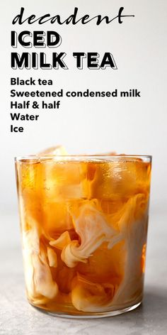 A refreshing iced milk tea made with black tea sweetened condensed milk and half & half.s sweet creamy and hits the spot on hot summer days. Milk Tea Recipes, Iced Tea Recipes, Coffee Recipes, Yummy Recipes, Drink Recipes, Non Alcoholic Drinks Hot, Ice Milk, Smoothie Drinks, Smoothies Coffee