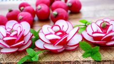 ItalyPaul - Art In Fruit & Vegetable Carving Lessons: Radish Rose Flowers Carving🌺🌺🌺 italypaul Veggie Art, Fruit And Vegetable Carving, Vegetable Decoration, Food Decoration, Radish Flowers, Rose Flowers, Red Roses, Fruit Flowers, Floral Flowers