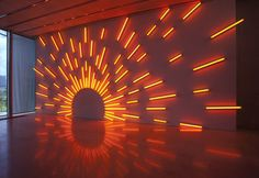 From Pérez Art Museum Miami (PAMM), Mark Handforth, Western Sun Fluorescent lights and fixtures Neon Lighting, Event Lighting, Lighting Design, Club Lighting, Stage Lighting, Bühnen Design, Perez Art Museum, Light Art Installation, All Of The Lights