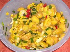 Salata de cartofi cu porumb din Carte de bucate, Salate. Specific Romania. Cum sa faci Salata de cartofi cu porumb Potato Salad, Potatoes, Vegan, Ethnic Recipes, Food, Potato, Essen, Meals, Vegans
