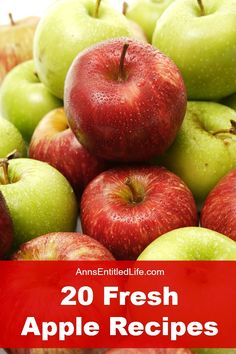 20 Fresh Apple Recipes; Celebrate fall's apple bounty with these mouthwatering sweet and savory apple dishes. http://www.annsentitledlife.com/recipes/20-fresh-apple-recipes/