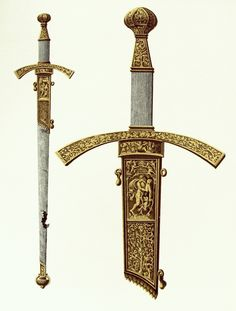 Sword of Sigismund II Augustus with Hercules vanquishing the Lernaean Hydra by Melchior Baier and Peter Flötner, 1540, Muzeum Skarbca Katedralnego im. Jana Pawła II w Krakowie