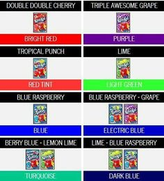 Kool aid dye color chart!!!!:-)