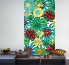 Flower Power  (P031202-2) - Mr Perswall Murals - A bold stylised psychadelic floral panel design – with large scale flowers.  Available in 5 colourways – shown in the greens and red. Total mural size 0.9m wide and 2.65m high.