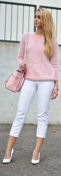 Love this. How well soft pink and white goes together. Have to try my pink sweater with white jeans.