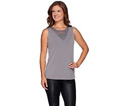 Susan Graver Liquid Knit Tank with Lace Inset
