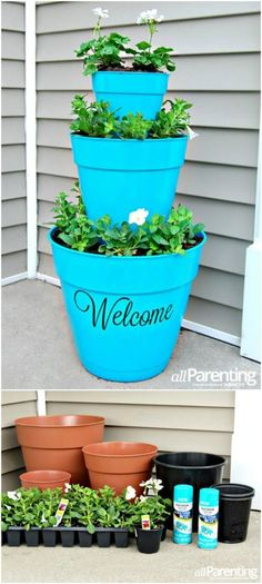 "DIY - Stacked Pot Planter ""Welcome"" - make a good impression."