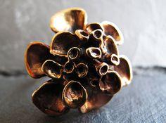 Hannu Ikonen Reindeer Moss Ring  Bronze by 20thCenturyStudio