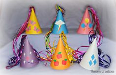 12 My Little Pony Inspired Party Hats by HensonCreations on Etsy, $24.00----OR MAKE YOUR OWN :)