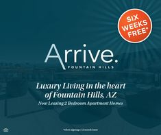 Are you looking for a luxury community in #FountainHills, AZ? Look no further! 🌵 We are currently offering SIX WEEKS rent free! Contact us today and be our neighbor. #NowLeasing Pet Friendly Apartments, Fountain Hills, Apartment Communities, 2 Bedroom Apartment, Luxury Apartments, Luxury Living, Community, How To Plan, Free